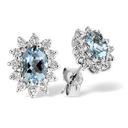 9K White Gold Diamond & Aqua Marine Earrings 0.36CT Reviews