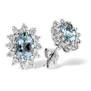 Photo of 9K White Gold Diamond & Aqua Marine Earrings 0.36CT Jewellery Woman