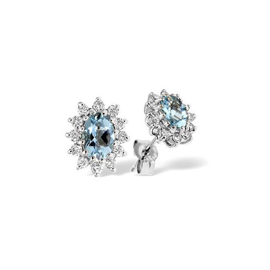 9K White Gold Diamond & Aqua Marine Earrings 0.36CT