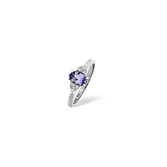 Tanzanite & 0.12CT Diamond Ring in White Gold