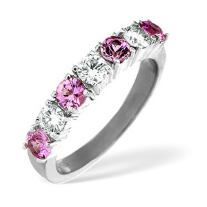 Photo of Pink Sapphire & 0.50CT Diamond Ring 18K White Gold Jewellery Woman