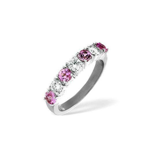 Pink Sapphire & 0.50CT Diamond Ring 18K White Gold