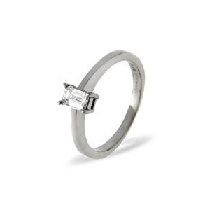 Photo of Emerald Cut Platinum Diamond Solitaire Ring 0.5CT H/SI Jewellery Woman