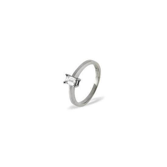 Emerald Cut Platinum Diamond Solitaire Ring 0.5ct H/SI