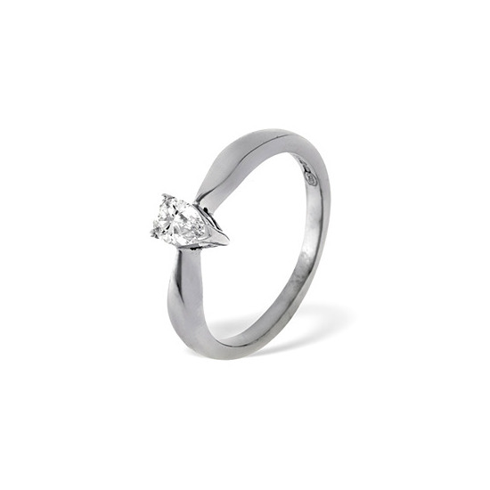 Pear Shaped 18KW Diamond Solitaire Ring