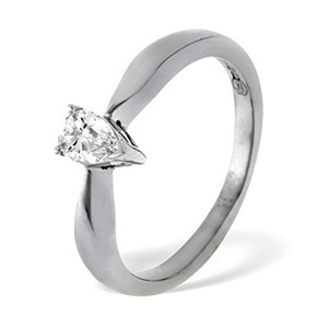 Photo of PEAR SHAPED 18KW DIAMOND SOLITAIRE RING 0.50CT g/VS Jewellery Woman
