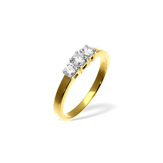 18KY DIAMOND RING 0.50CT H/SI