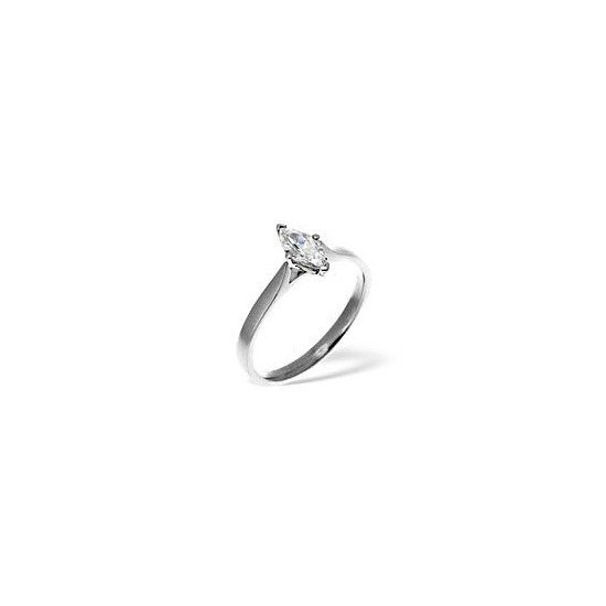 MARQUISE 18KW DIAMOND SOLITAIRE RING 0.50CT