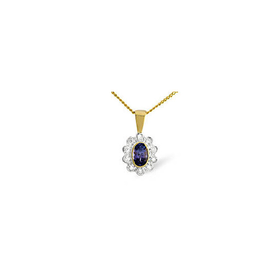 9ky Diamond Tanzanite Pendant 0.10ct