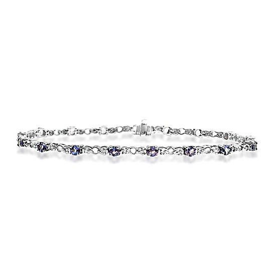 9KW Diamond Tanzanite Bracelet 0.17CT