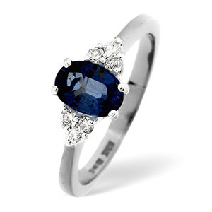 Photo of Sapphire & 0.12CT Diamond Ring 18K White Gold Jewellery Woman