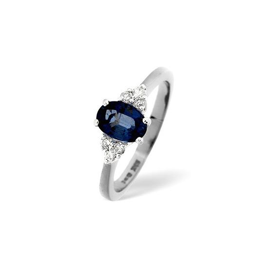 Sapphire & 0.12CT Diamond Ring 18K White Gold
