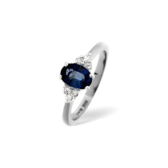 Sapphire & 0.12CT Diamond Ring 18K White Gold