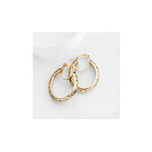 Photo of 9CT Gold Cubic Zirconia Oval Hoops Jewellery Woman