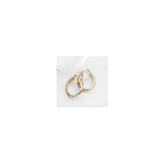 9ct Gold Cubic Zirconia Oval Hoops