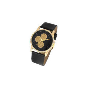 Photo of F&F Signature Round Gold Glitter Dial Black Leather Strap Watch Watches Woman