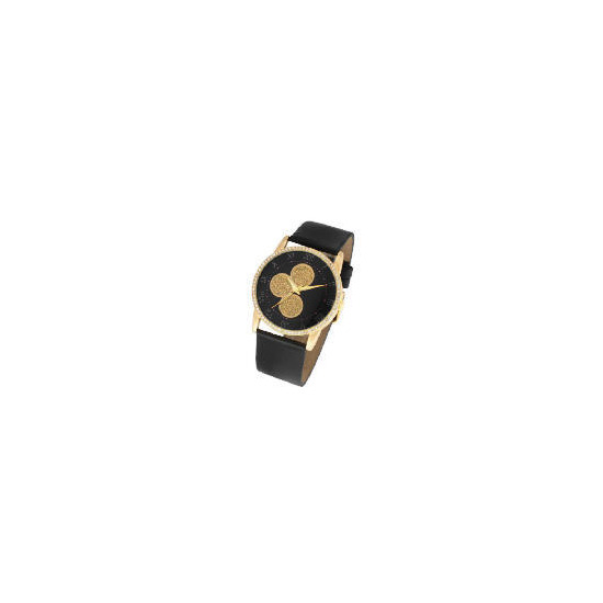 F&F Signature round gold glitter dial black leather strap watch