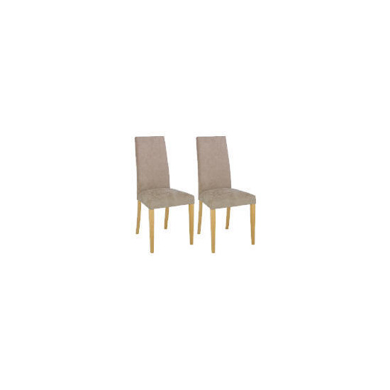 Pair of Roma Dining Chairs, Brown with Oak Legs