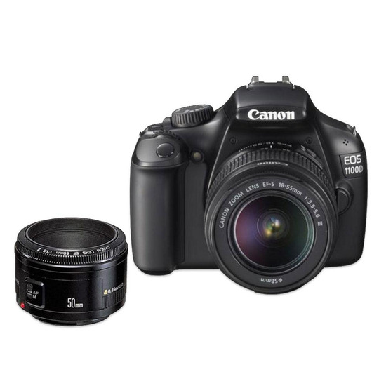 Canon EOS 1100D with 18-55mm lens and 50mm f/1.8 II lens