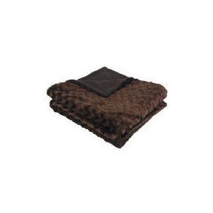 Photo of Tesco Wave Faux Fur Throw Chocolate Cushions and Throw