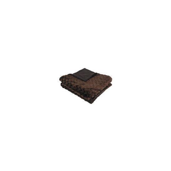 Tesco Wave Faux Fur Throw Chocolate