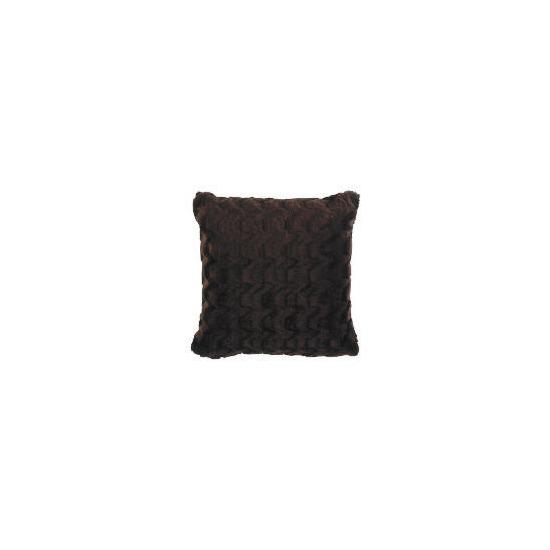 Tesco Wave Faux Fur Cushion Chocolate