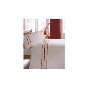 Photo of Catherine Lansfield Ribbon Pintuck Duvet Set Double Red Bed Linen