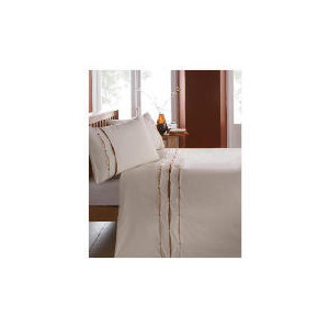 Photo of Catherine Lansfield Ribbon Pintuck Duvet Set Double Natural Bed Linen