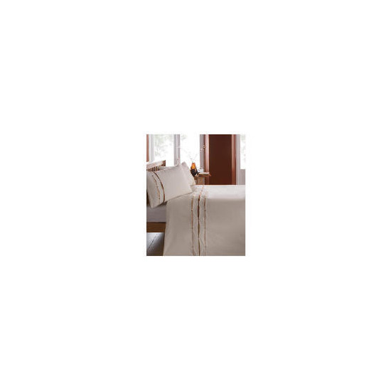 Catherine Lansfield Ribbon Pintuck Duvet Set Double Natural