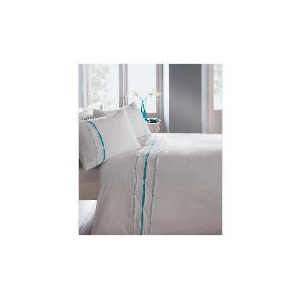 Photo of Catherine Lansfield Ribbon Pintuck Duvet Set King Aqua Bed Linen