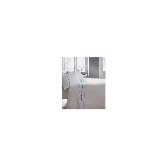 Catherine Lansfield Ribbon Pintuck Duvet Set King Aqua