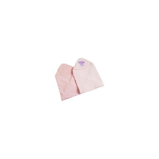 TESCO MY BABY'S 2 Pk Emb Cuddle Robes Pink