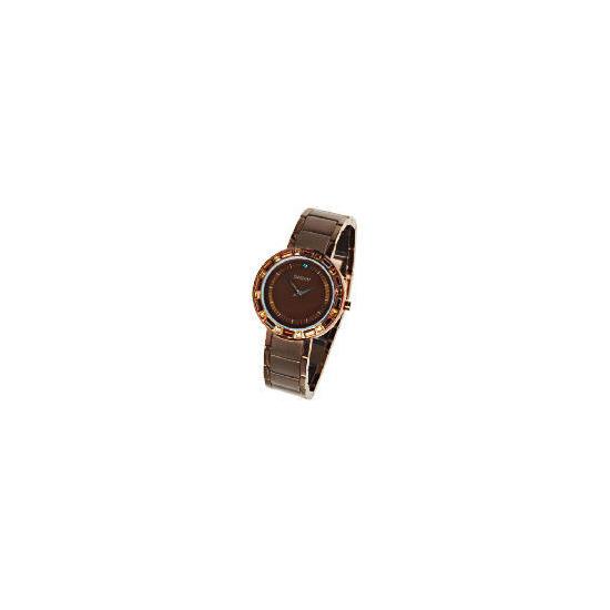 DKNY ladies brown round stone set bracelet watch