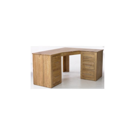 Solid Ash Corner Desk (Right)- With Filing Cabinet and Drawer