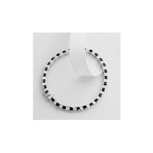 Photo of Sterling Silver Black and White Cubic Zirconia Bracelet Jewellery Woman