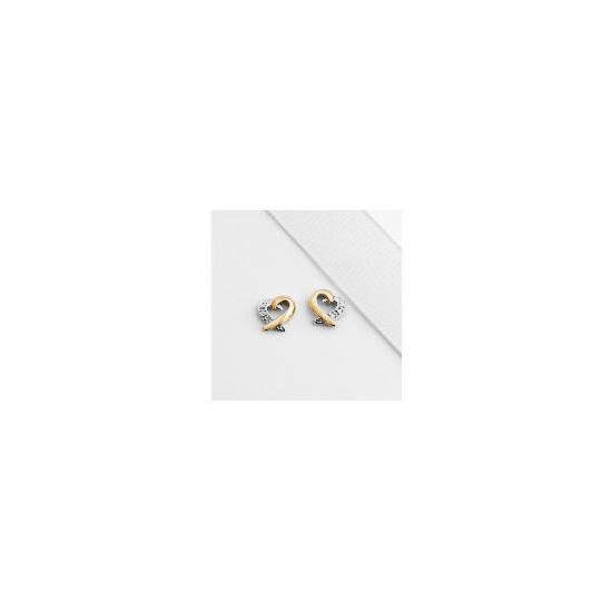 9ct Gold Diamond Heart Studs
