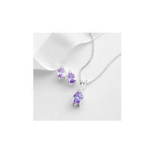 Photo of Sterling Silver Lavender and White Cubic Zirconia Pendant and Earring Set Jewellery Woman