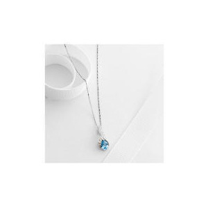 Photo of 9CT White Gold Blue Topaz and Diamond Pendant Jewellery Woman