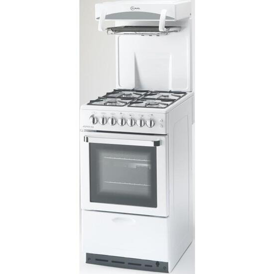 Flavel 50cm Gas Cooker White with High Level Grill and FSD