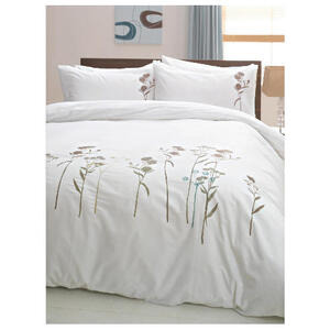 Photo of Tesco Wild Flowers Embroidered Duvet Set Double, White Bed Linen