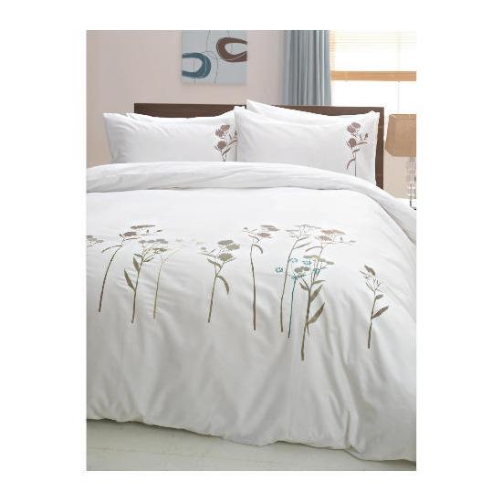 tesco wild flowers embroidered duvet set double white. Black Bedroom Furniture Sets. Home Design Ideas