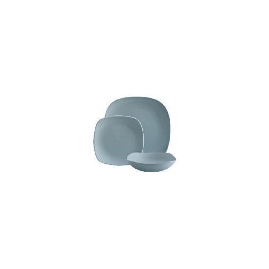 Tesco Mono square Dinnerware Set 12 piece, Blue