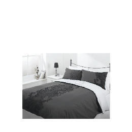 Tesco Flock Print Duvet Set Kingsize, Black Reviews