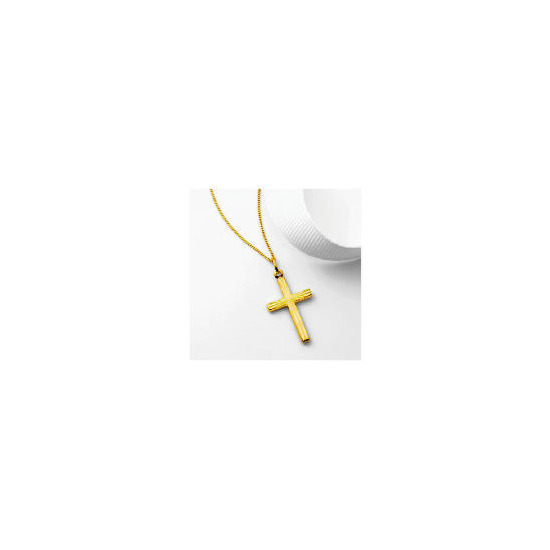 9ct Gold Diamond Cut Cross Pendant
