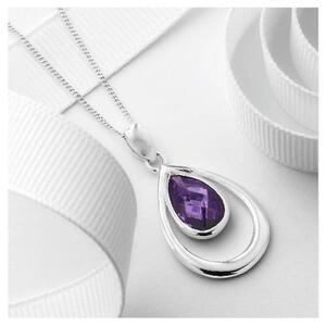 Photo of Silver Purple Cubic Zirconia Teardrop Pendant Jewellery Woman