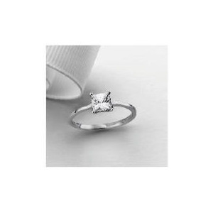 Photo of 9CT White Gold Princess Cut Cubic Zirconia Solitaire Ring, N Jewellery Woman