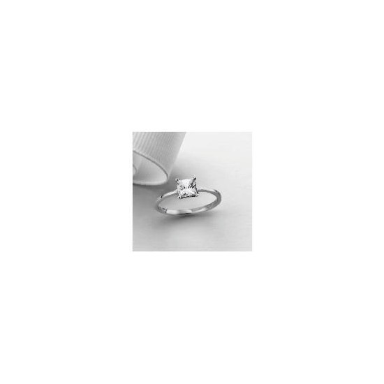 9ct White Gold Princess Cut Cubic Zirconia Solitaire Ring, N