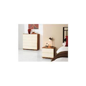 Photo of Ferrara Bedside Chest - Cream & Walnut Furniture