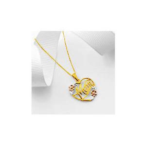 Photo of 9CT 3 Colour Gold Diamond Mum Pendant Jewellery Woman