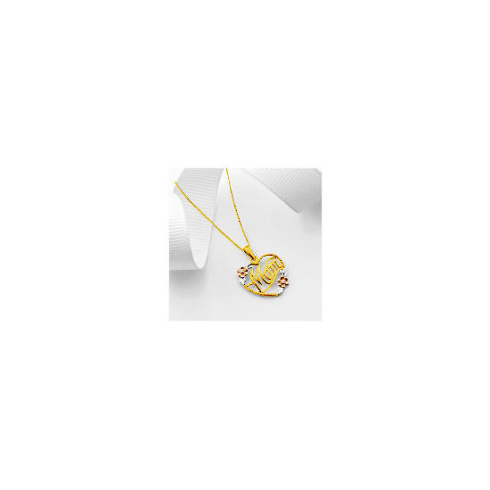 9ct 3 Colour Gold Diamond Mum Pendant